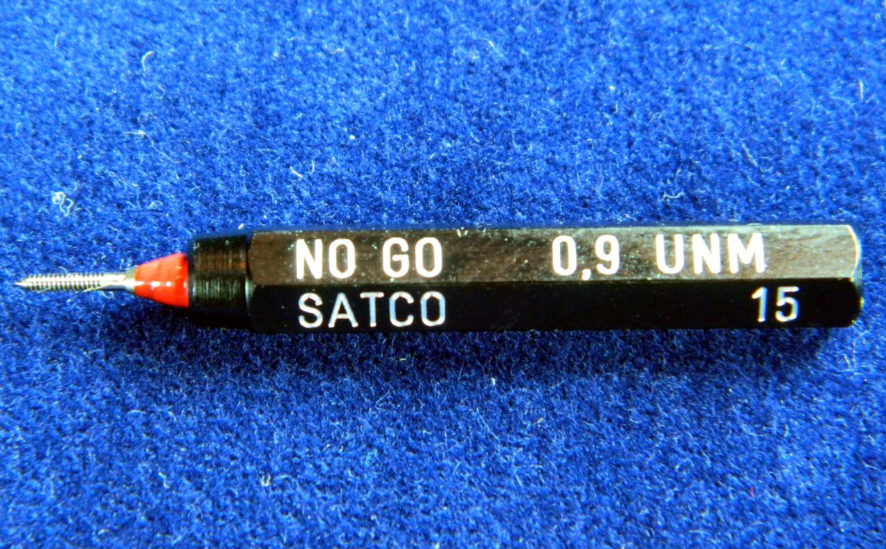 #02542  Metric Thread Plug Gage M.90 /  90UNM pitch .225mm; In a single handle No-Go member Precision Thread Gage made of High Speed Steel then hardened. Picture is representative of part,  We have 19 pieces.  Brand is; ESO made in Switzerland