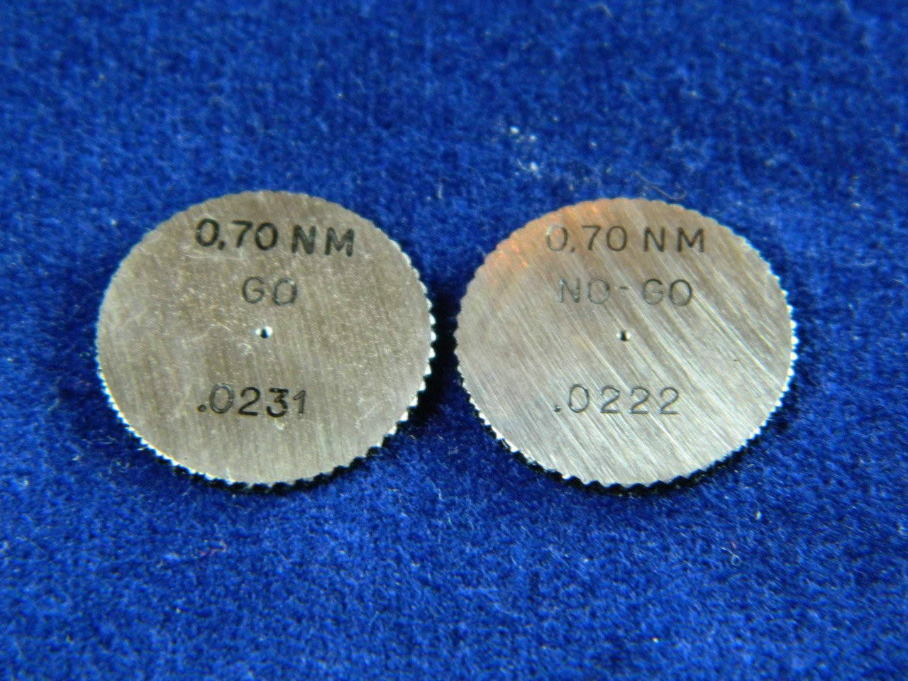 #02560  Metric Ring Gage M.70 x.175  HSS  Set two pieces; Go & No-Go set Brand DC Swiss made in Switzerland
