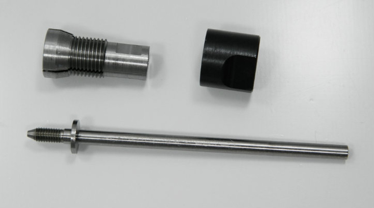 "Holder for Roll Dies with 8.0mm outside housing diameter generally fitting thread sizes M.8 to M1.3 Non-Adjustable, Habegger brand, HSS for die Body diameter 8.0mm. Assembly consisting of: Shaft, Body and Closure Cap. Only 1 in stock generally this item is a ""Special Order"" lead time 2- 4 weeks.  We can supply a die hold for any roll die we sell."
