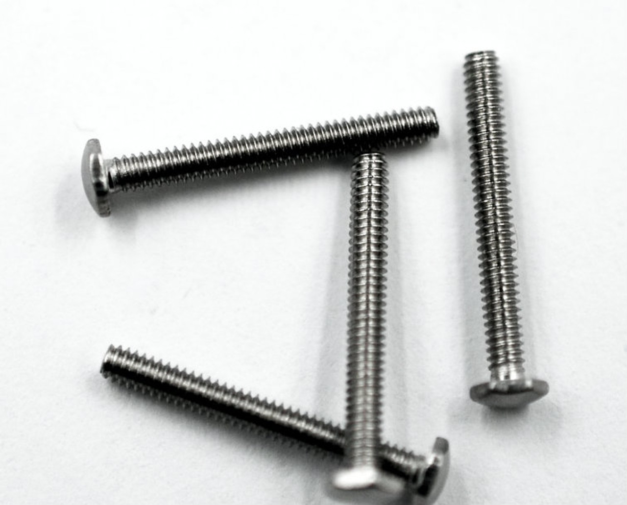 "Machine Screw Hex head, thread M1.4 pitch .25mm (thread also called 1.40UNM) head (ACF) measurement 2.5mm, Length shank 11.7mm and overall length is 12.5mm material Stainless steel, price for 100 pieces. Finish color natural stainless steel ""silver"" and polished.  The screw head has a slight doom and is polished"