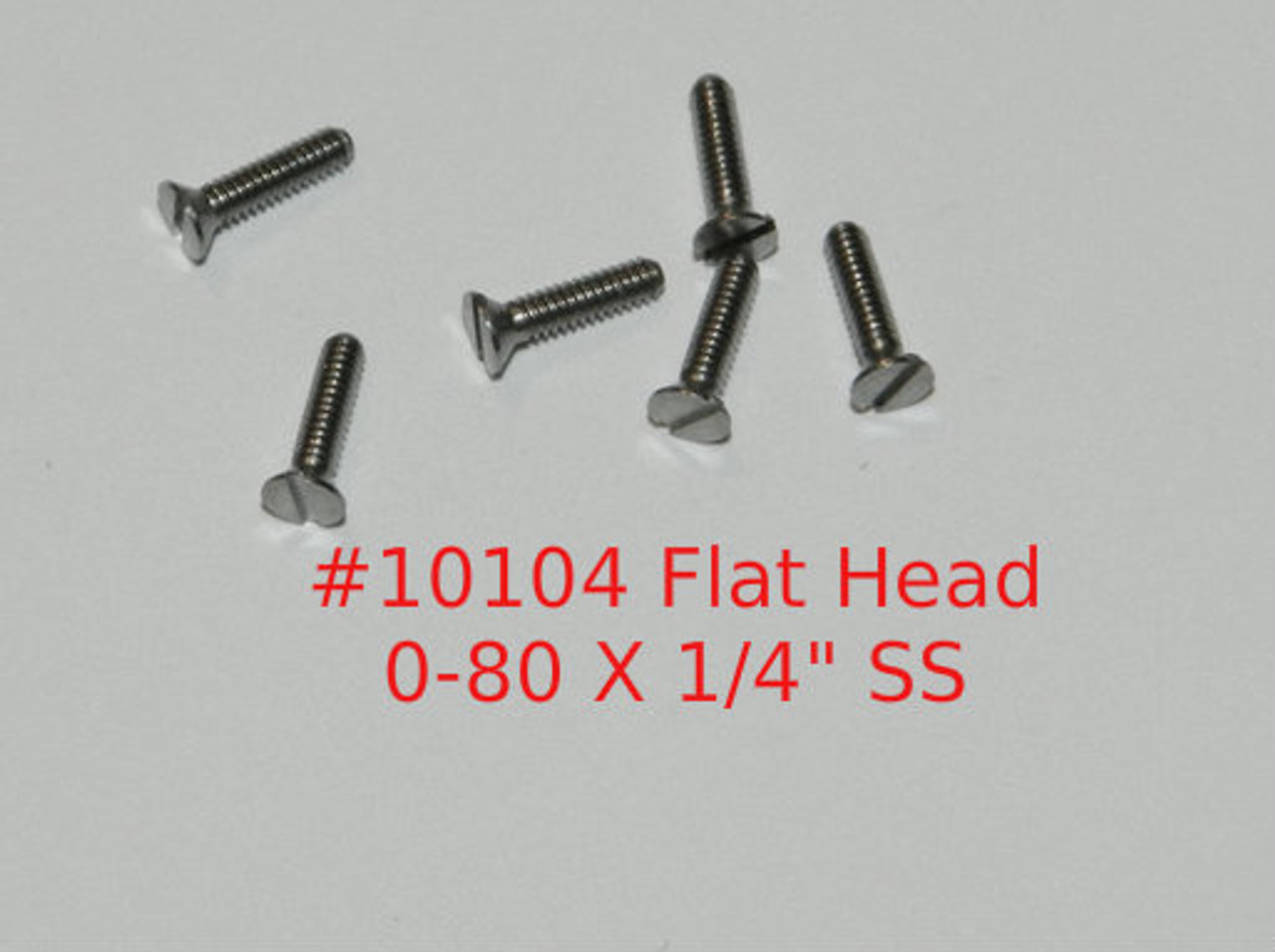 """0-80  2A Thread Flat Head, 82 degree,  Slotted Machine Screw, Length 1/4""""full thread stainless steel #303 Price is for 100 pieces. polished.  This screw is made on precision screw machines it is not a cold headed screw.  All parts are certified and traceable.  We can make parts to your design with very few limitations.  We carry a wide range of in stock fasteners for more information email us at; sales@minitaps.com"""