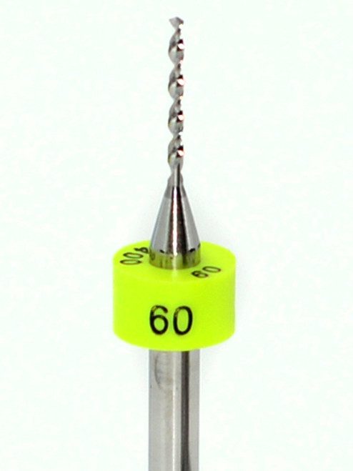 """Drill bit Size: 1.02mm  #60   Flute length: sizes .50 to .65mm 8.90mm, sizes .70 to 2.50mm 10.50mm  Drill Point 135°, Shank .125"""" / 3.18mm,Overall length 38mm /1.50""""  All bits have plastic size rings, Material Micro-Grain Carbide  Drill bits Self centering on flat surface Other surfaces use center drill first     Mix-N-Match Precision Micro-Grain Carbide Drill Bits    Any Sizes .50mm to 2.50mm  Pick the Drill bits and quantities your discount is determined by """"Shopping Cart Total""""  10 Pieces to 24 Net Discounted Price $4.95 each  25 Pieces to 49 Net Discounted Price $4.45 each  50 & more Net Discounted Price $4.25 each  Discounts shown in """"You're Shopping Cart""""     Plus FREE shipping on orders over $50.00"""