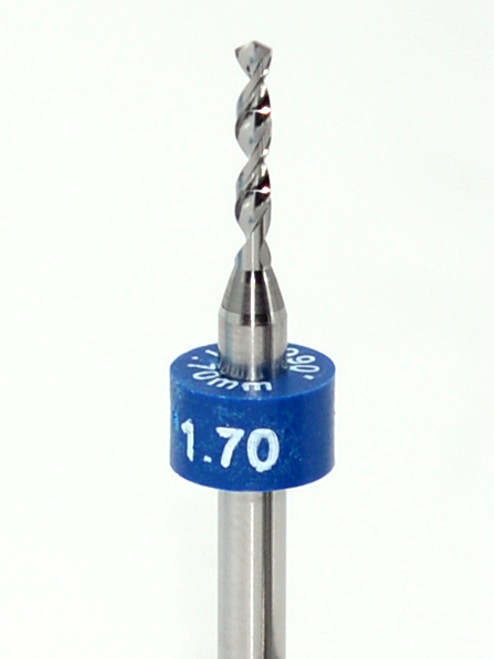 """Drill bit Size: 1.70mm     Flute length: sizes .50 to .65mm 8.90mm, sizes .70 to 2.50mm 10.50mm  Drill Point 135°, Shank .125"""" / 3.18mm,Overall length 38mm /1.50""""  All bits have plastic size rings, Material Micro-Grain Carbide Grade ISO K20 / K30  Drill bits Self centering on flat surface Other surfaces use center drill first"""