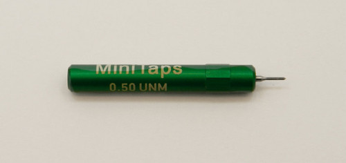 "0.50UNM Plug Go Gage pitch .125mm; UNM stands for ""United National Miniature"" the American Metric miniature Thread standard. Precision Thread Gage made of High Speed Steel then hardened. Picture is representative of part,  We have two pieces in stock.  Brand is;"" MiniTaps"" made specifically for us in Switzerland."