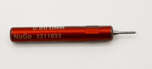 ".80UNM Plug No-Go Gage .20mm; UNM stands for ""United National Miniature"" the American Metric miniature Thread standard. Precision Thread Gage made of High Speed Steel then hardened. Picture is representative of part,  We have two pieces  in stock.  Brand is;"" MiniTaps"" made specifically for us in Switzerland."