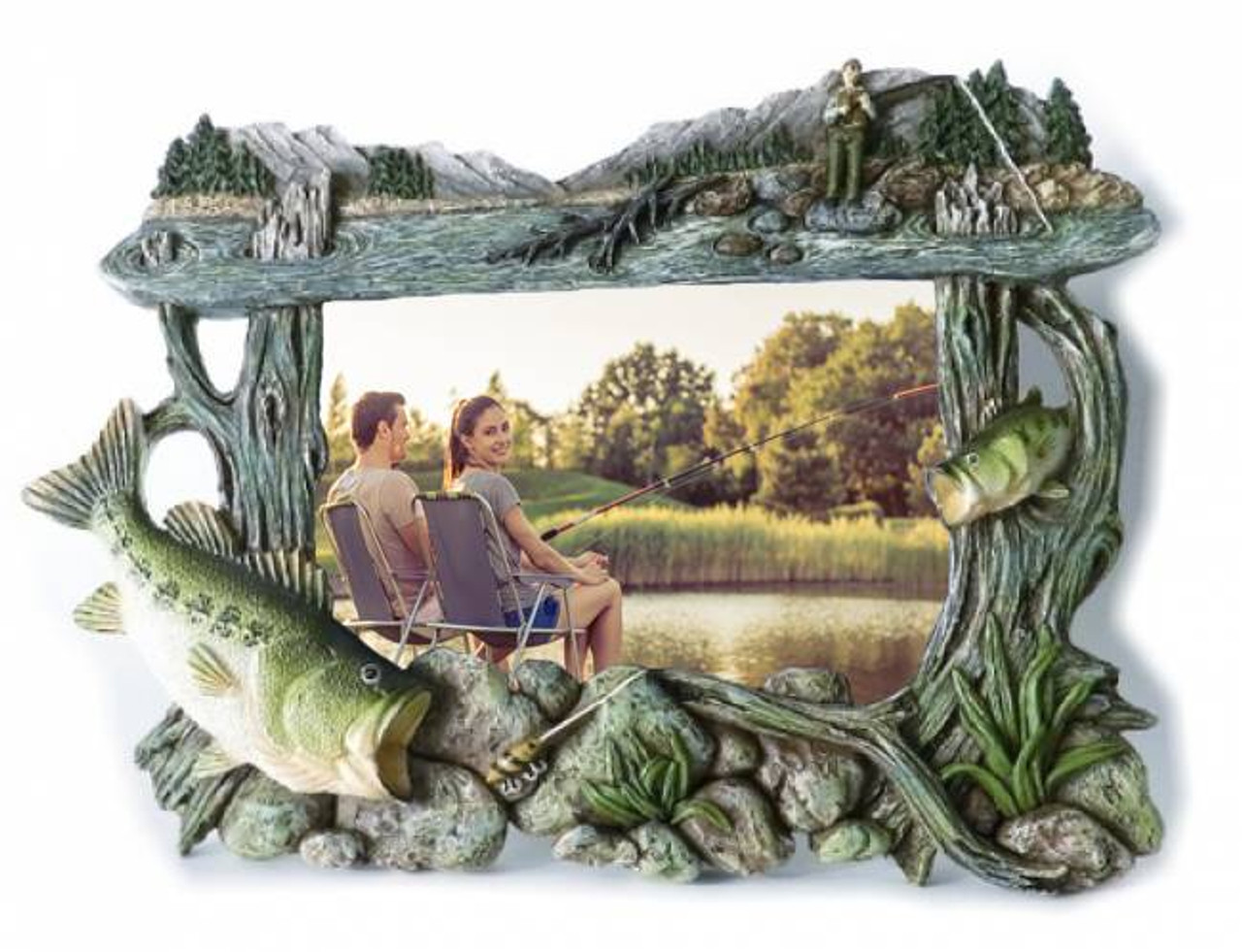 Sculpted bass fishing 4x6 picture frame for Fishing picture frame