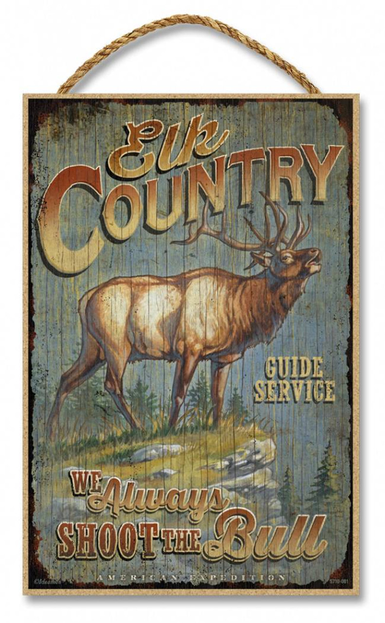 Elk Country Guide Service Rustic Advertising Wooden 7 Quot X