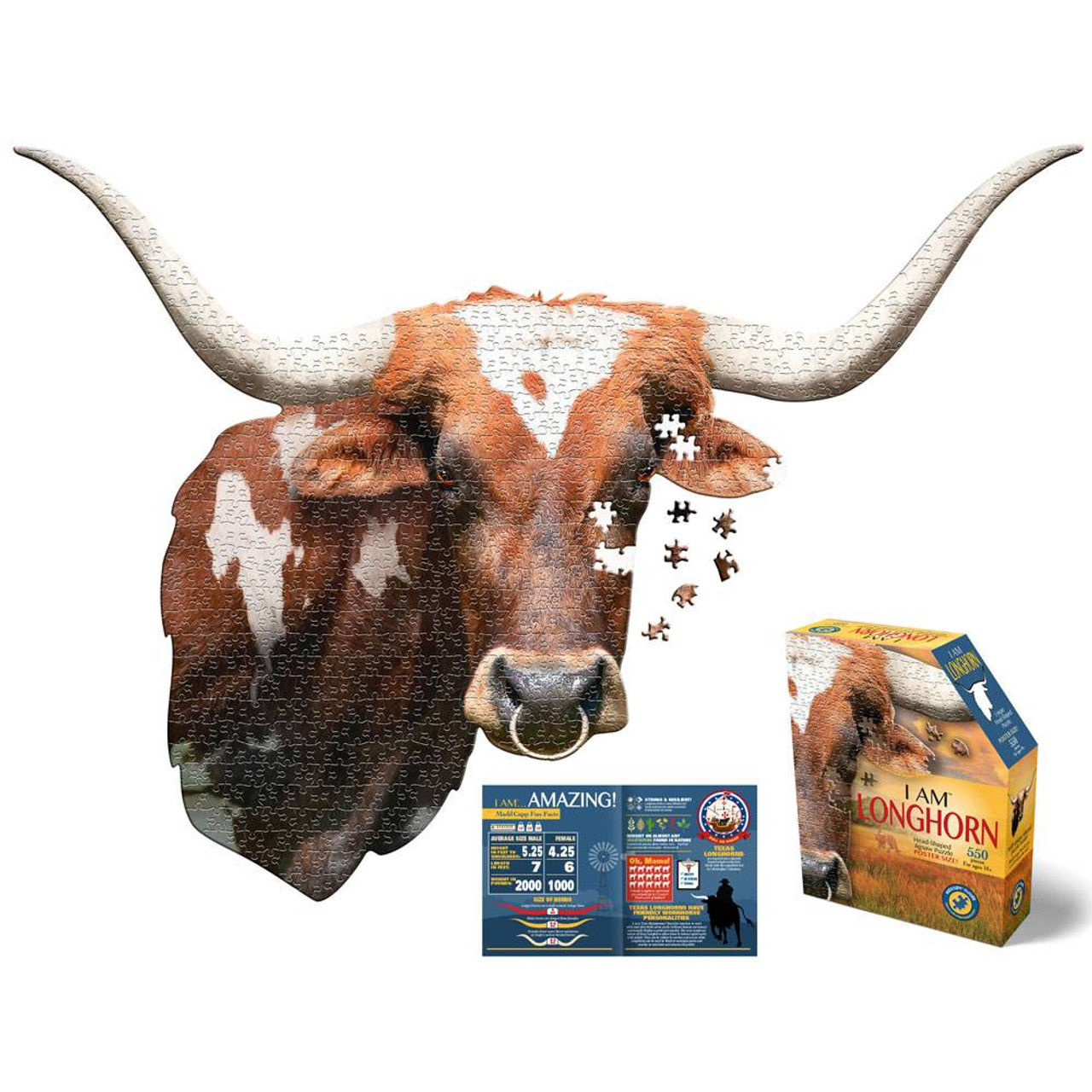 550 Piece Longhorn Head Shaped Puzzle | American Expedition