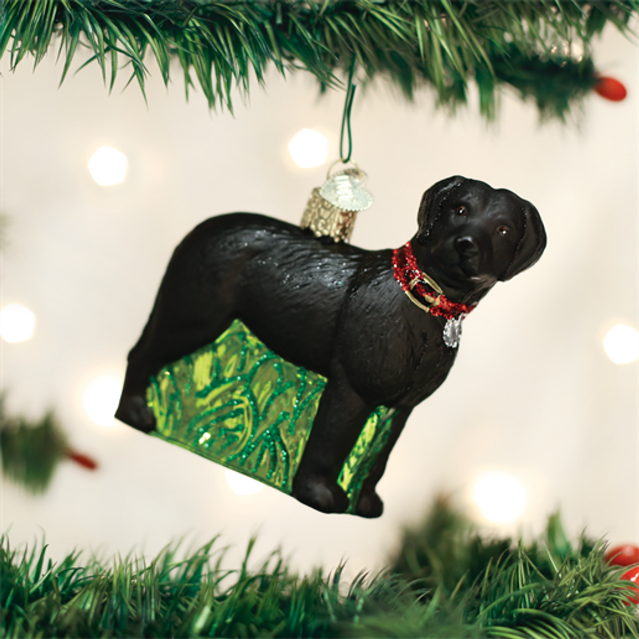 standing black lab christmas ornament - Black Lab Christmas Ornament