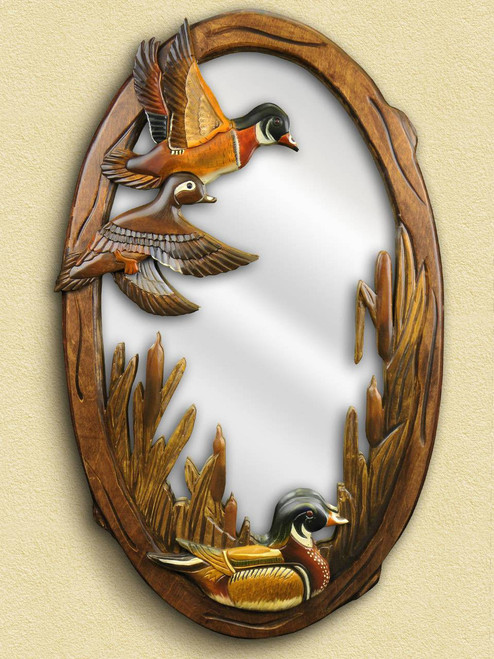 Flying Duck Hand Carved Wooden Mirror