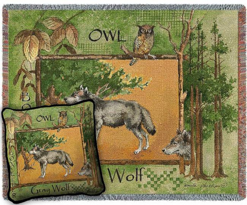 Gray Wolf In Woods Woven Blanket