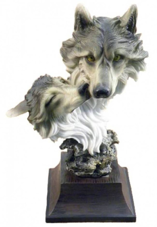 Gray Wolf Mother And Pup Stone Sculpture