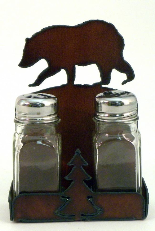 Rustic Black Bear Salt And Pepper Shakers With Holder