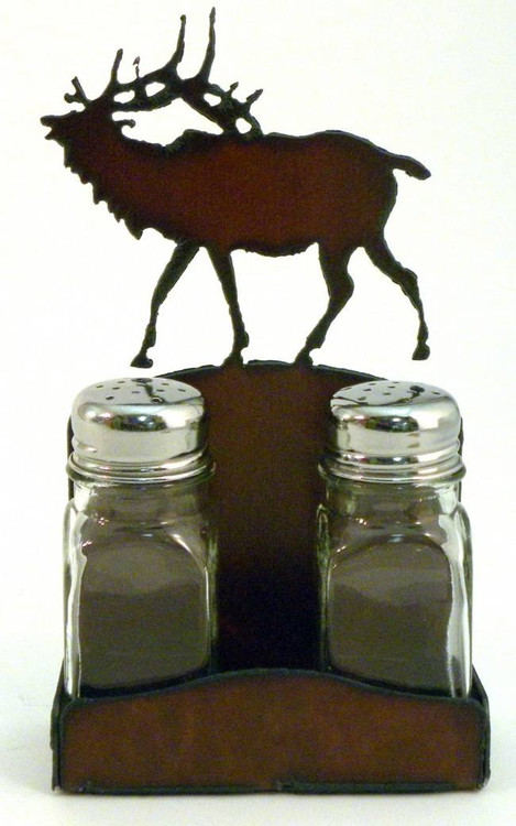 Rustic Elk Salt And Pepper Shakers With Holder