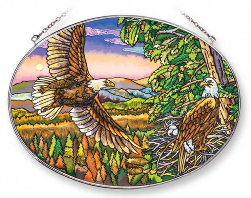Spacious Skies Bald Eagle Stained Glass Suncatcher