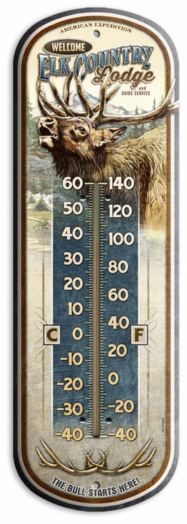 Elk Country Lodge Vintage Ad Large 17 Quot Tin Thermometer