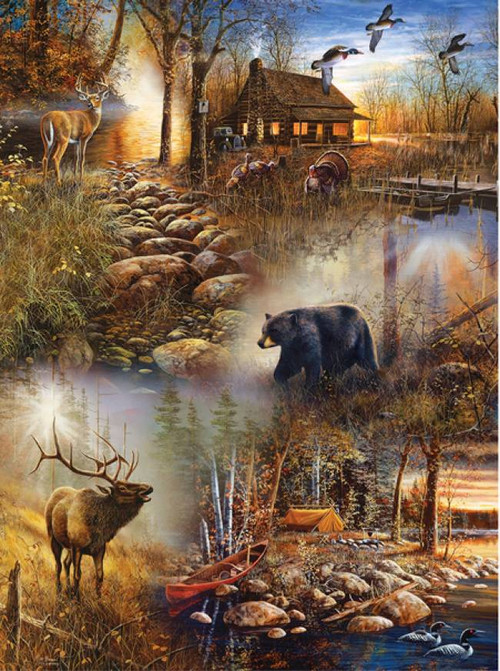 rack kitchen cabinet quot forest collage quot wildlife 1000 puzzle 25045