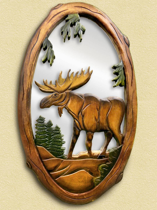 Moose Hand Carved Wooden Mirror
