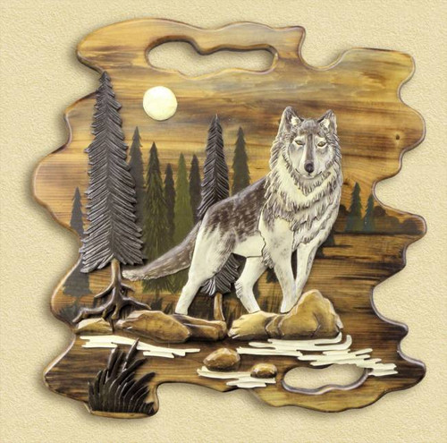 Wolf Scene Hand Carved Wooden Wallhanging