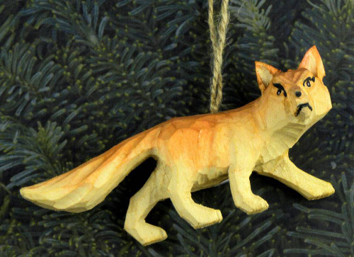 Hand Carved Wooden Fox Ornament