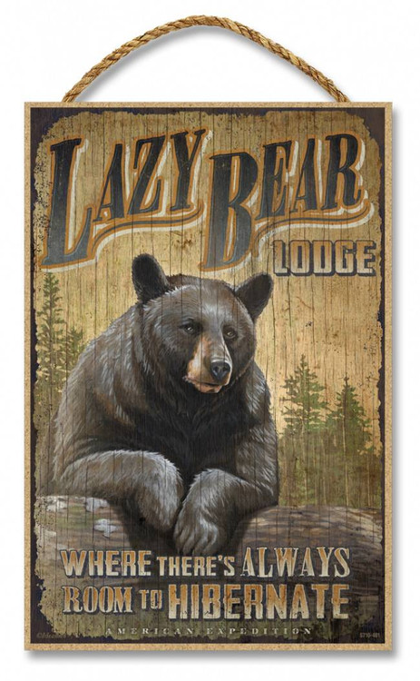 Lazy Bear Lodge Rustic Advertising Wooden 7 Quot X 10 5 Quot Sign