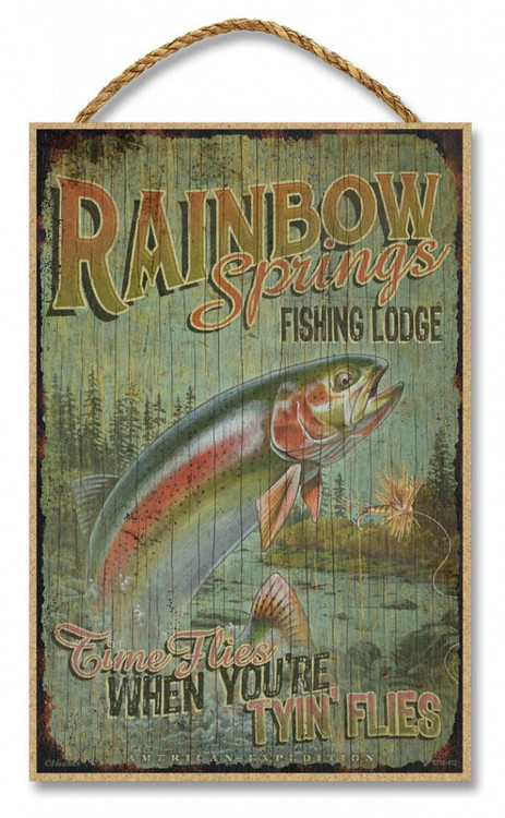 Rainbow Springs Fishing Lodge Rustic Advertising Wooden 7 Quot X 10 5 Quot Sign