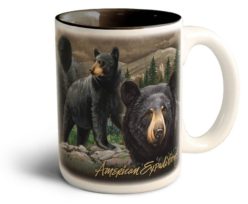 Black Bear Collage Stoneware Coffee Mug American Expedition
