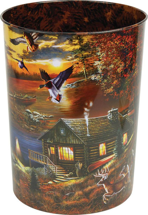 Cabin And Wildlife Scene Waste Basket