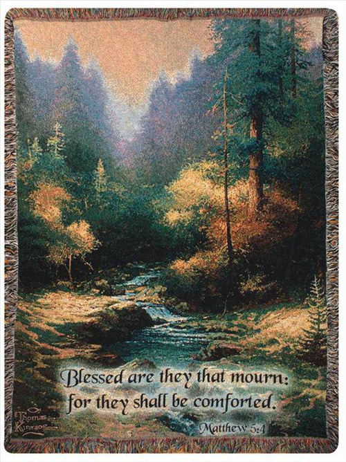 Creekside Trail With Verse Woven Blanket
