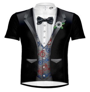Primal Wear Ritz Tuxedo Cycling Jersey Silver Vest with Bikes Men's Short Sleeve