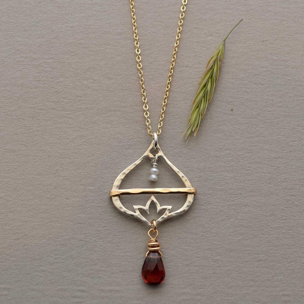 Handmade Lotus Flower Necklace Plumb Line Jewelry