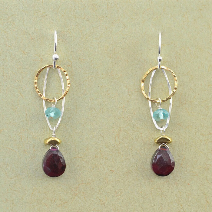 Garnet and Apatite Hoop Earrings