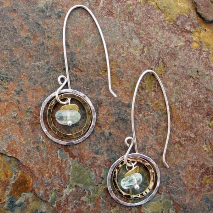 Sun drop earrings made with aquamarine stones
