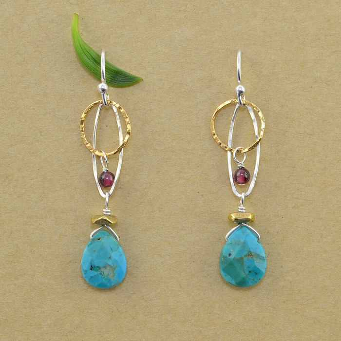 Organic Turquoise and Garnet Earrings