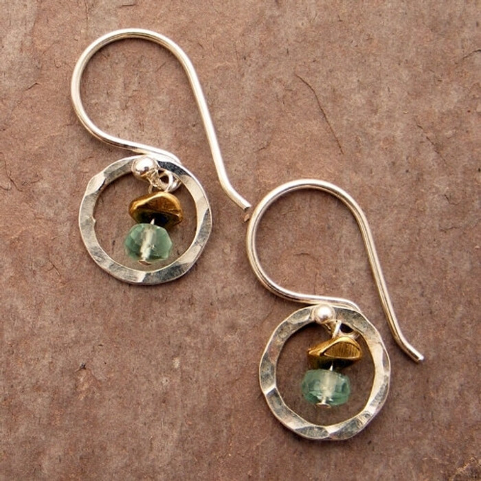Petite Circle Silver & Gemstone Earrings (w/multiple stone options)