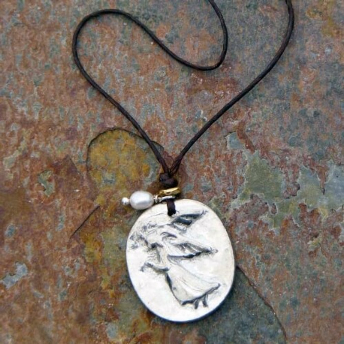 Pewter handmade charm necklace chain with Guardian Angel