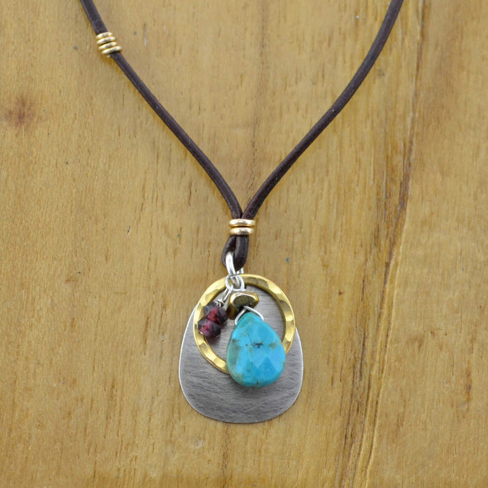 Teardrop Turquoise Garnet in Gold Leather Necklace