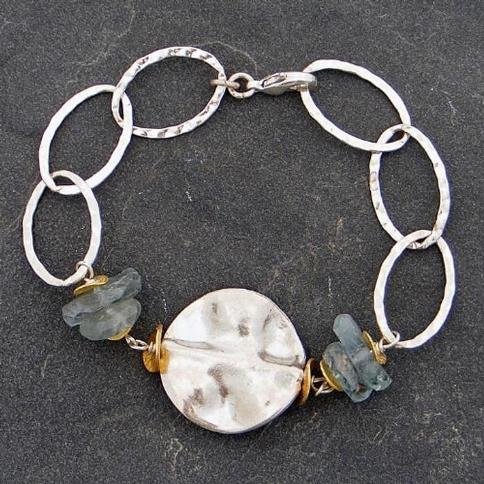 Wafered Sterling and Aquamarine Bracelet