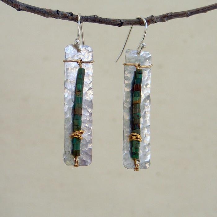 Geometric turquoise stone earrings