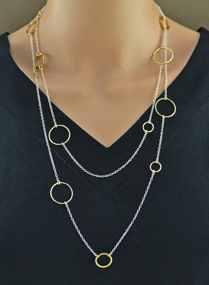 Shimmering Metallic Layers Necklace