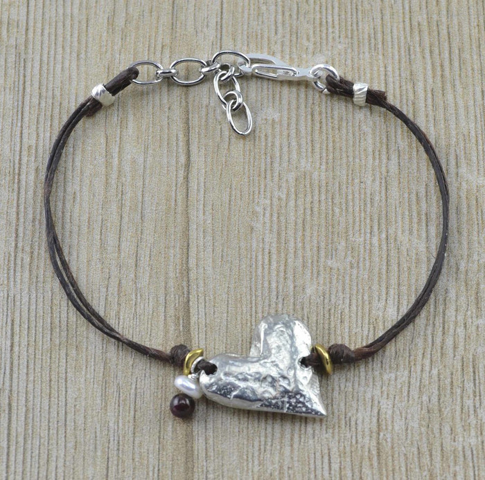 Pewter handmade charm bracelets with small heart charm