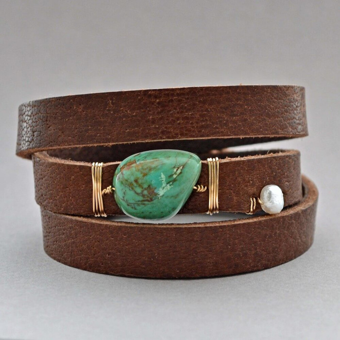 Turquoise Leather Wrapped Cuff
