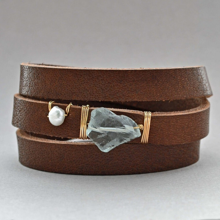 Handcrafted leather cuff bracelets with aquamarine stone