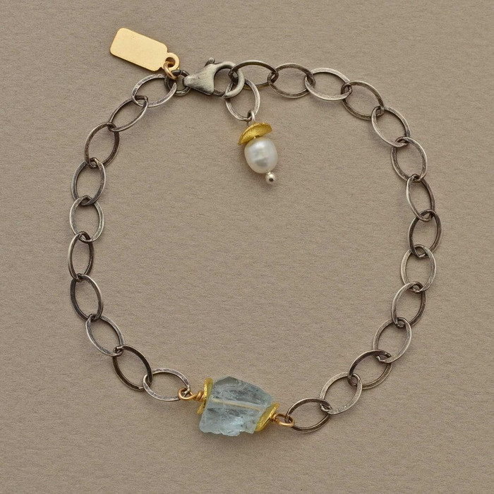 Perched aquamarine stone bracelet made with oxidized sterling silver chain and fresh water pearl