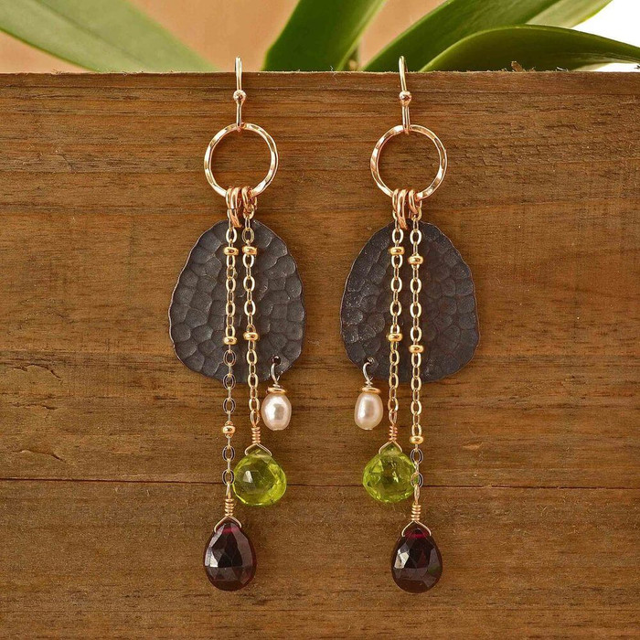 Dangling earrings handmade with gemstones and sterling silver