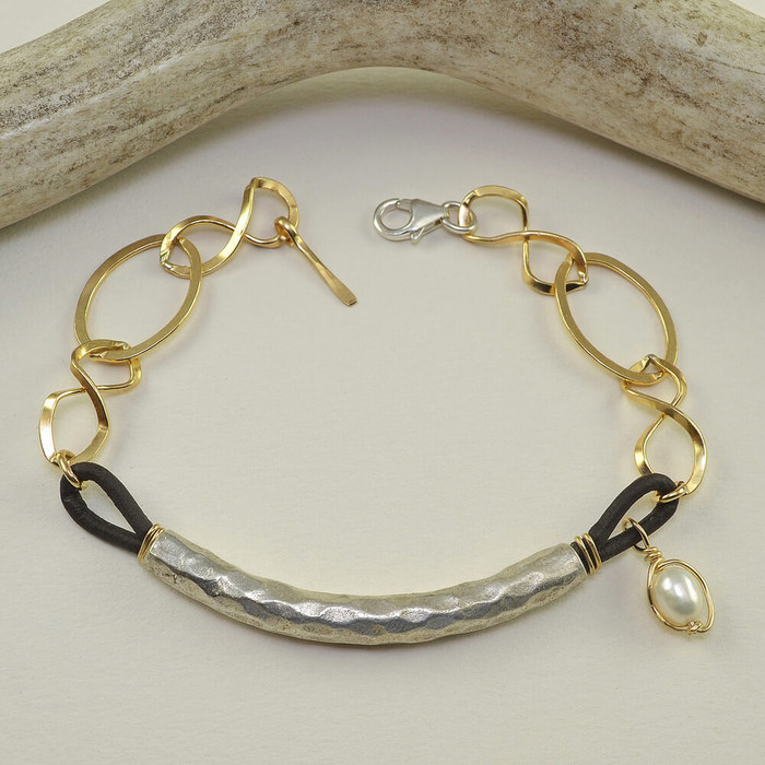 Handmade gold link bracelet with gold filled link chain and textured metals