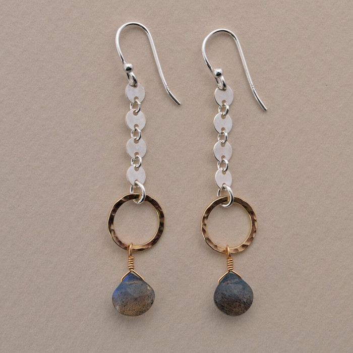 handcrafted labradorite earrings made with 14kt gold filled sterling silver