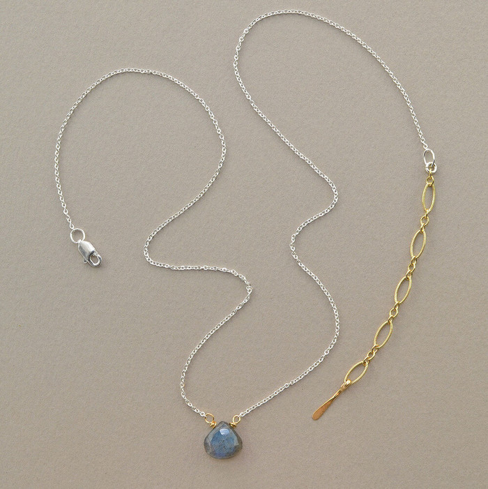 floating gemstone necklace made from the gemstone and  sterling silver