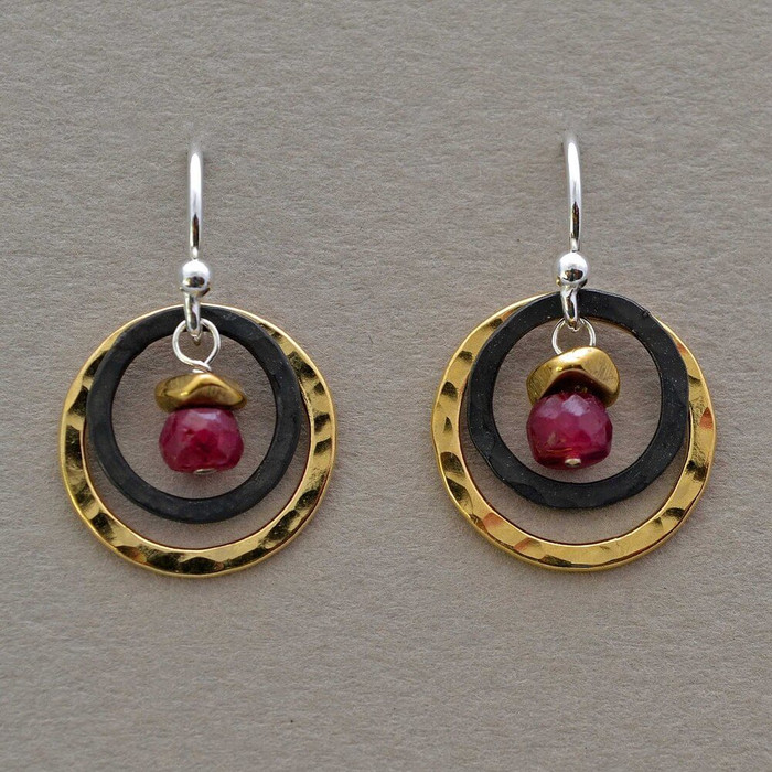 Handmade earrings with double circles and ruby stones