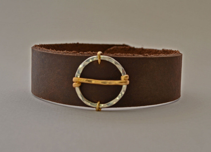 Handmade leather cuff bracelet with sterling silver filled with 14 kt gold